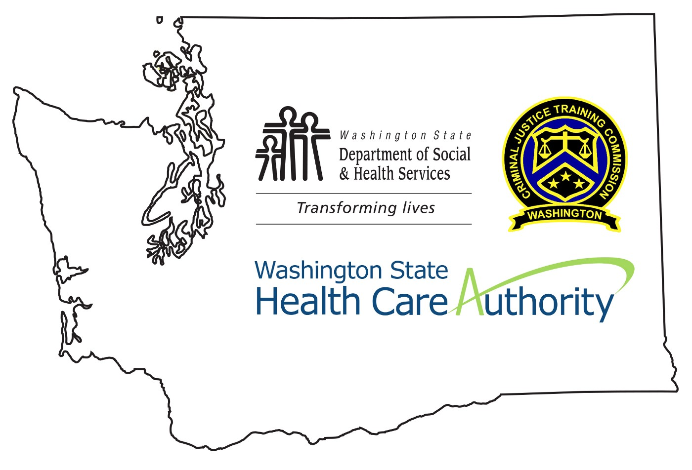 Outline of Washington state with the Department of Social and Health Services, Health Care Authority and Criminal Justice Training Center logos.