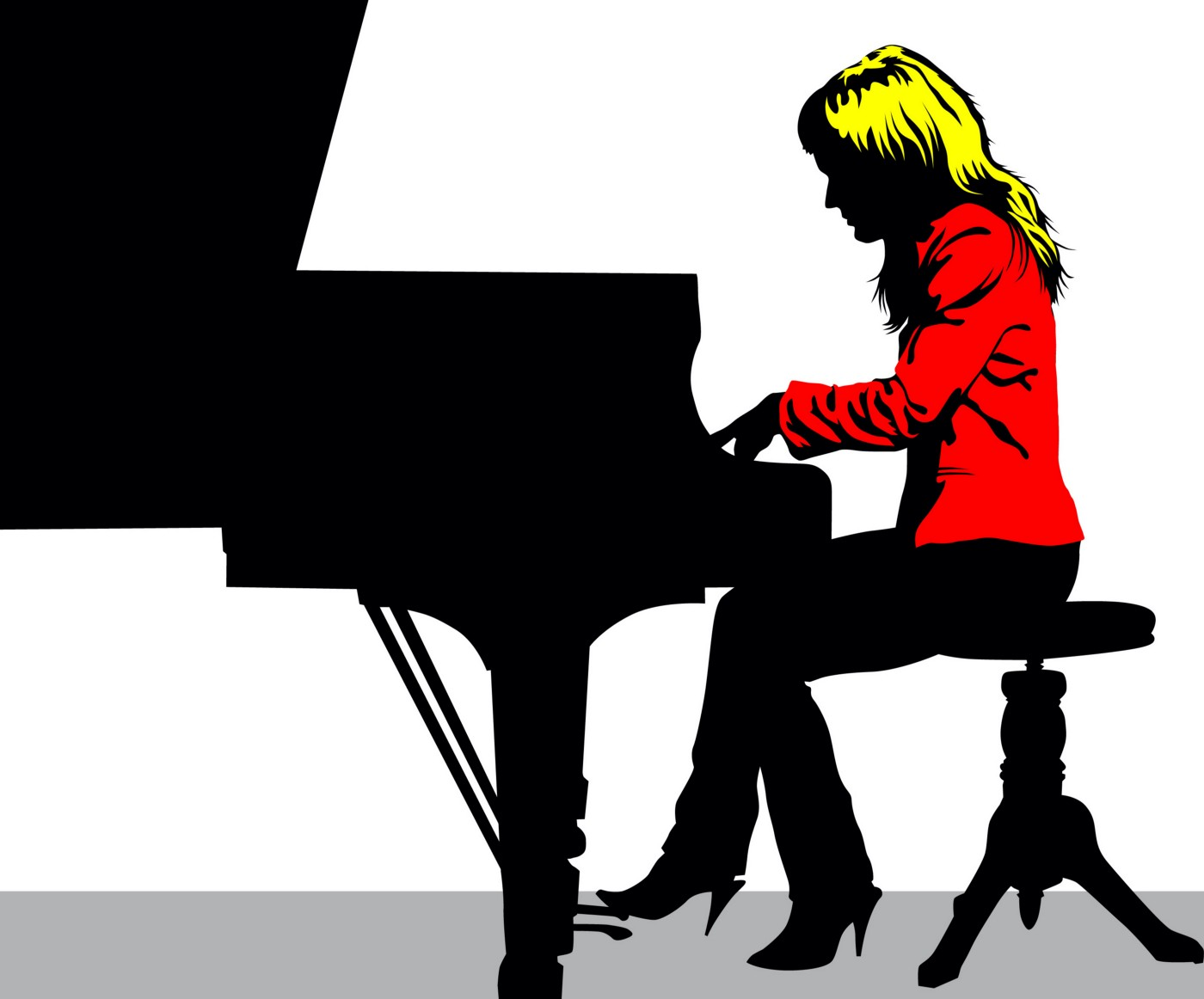 Formally dressed woman playing grand piano.