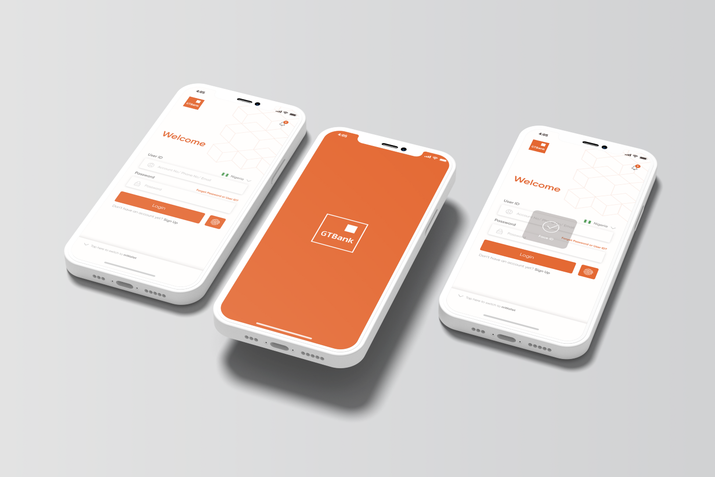Login screens of the newly improved mobile application