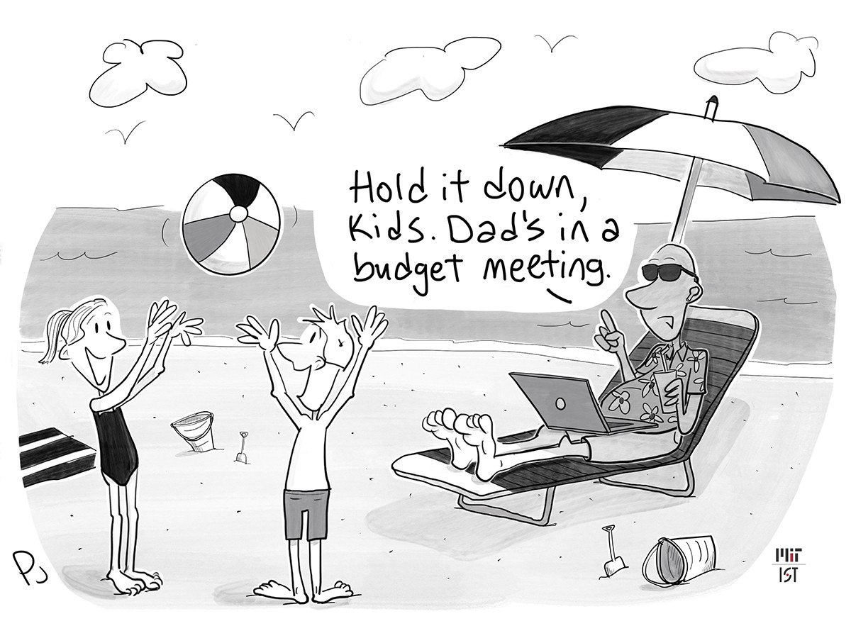 """Cartoon of a man sitting on a lounge on the beach with his laptop open his lap. Two young kids are nearby playing with a beachball. The man says """"Hold it down, kids. Dad's in a budget meeting."""""""