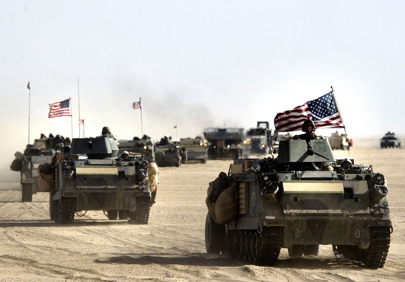 U.S. Army 11th Engineers move into position ahead of a possible military strike near Kuwait-Iraq border on March 18, 2003.