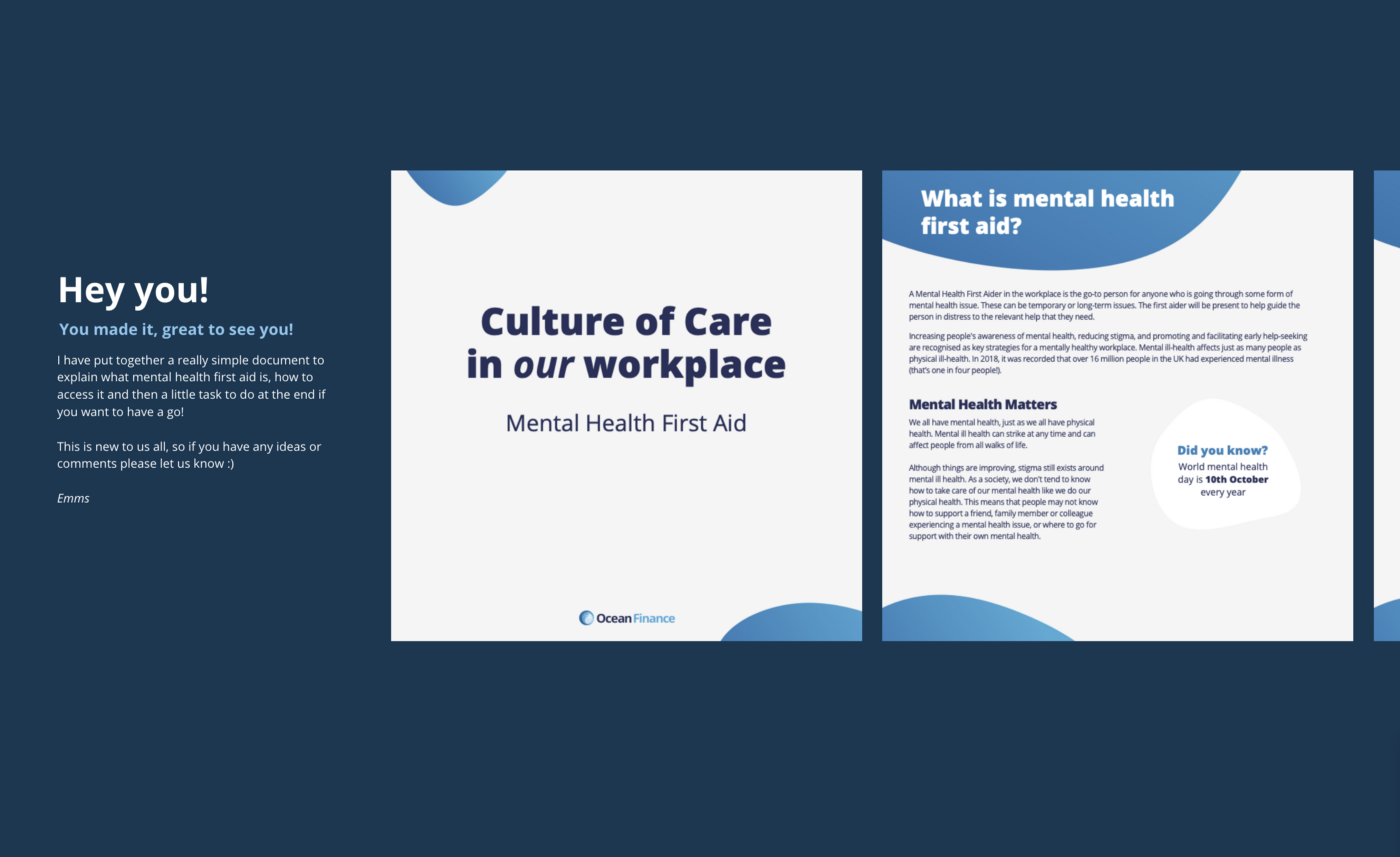Snippet of document I built to showcase mental health first aid in my workplace