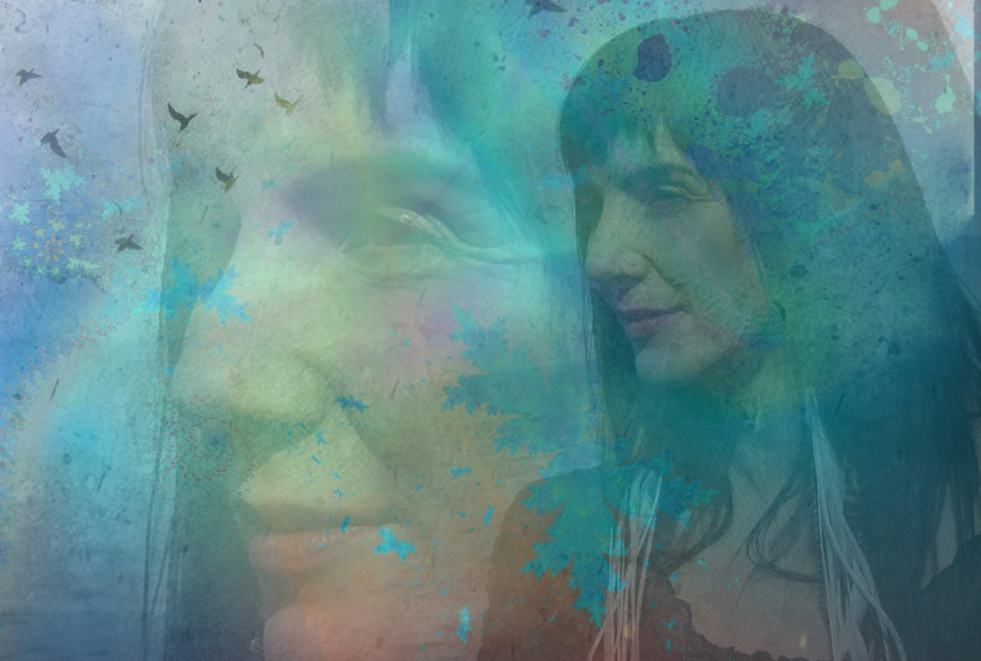 Composite image including a woman's profile, seabirds and fractal colors in blues and greens.
