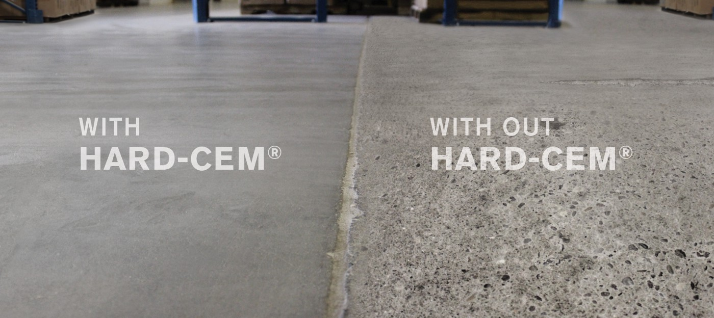 A comparison between concrete with and concrete without Hard-Cem shows that the concrete with Hard-Cem is smoother.