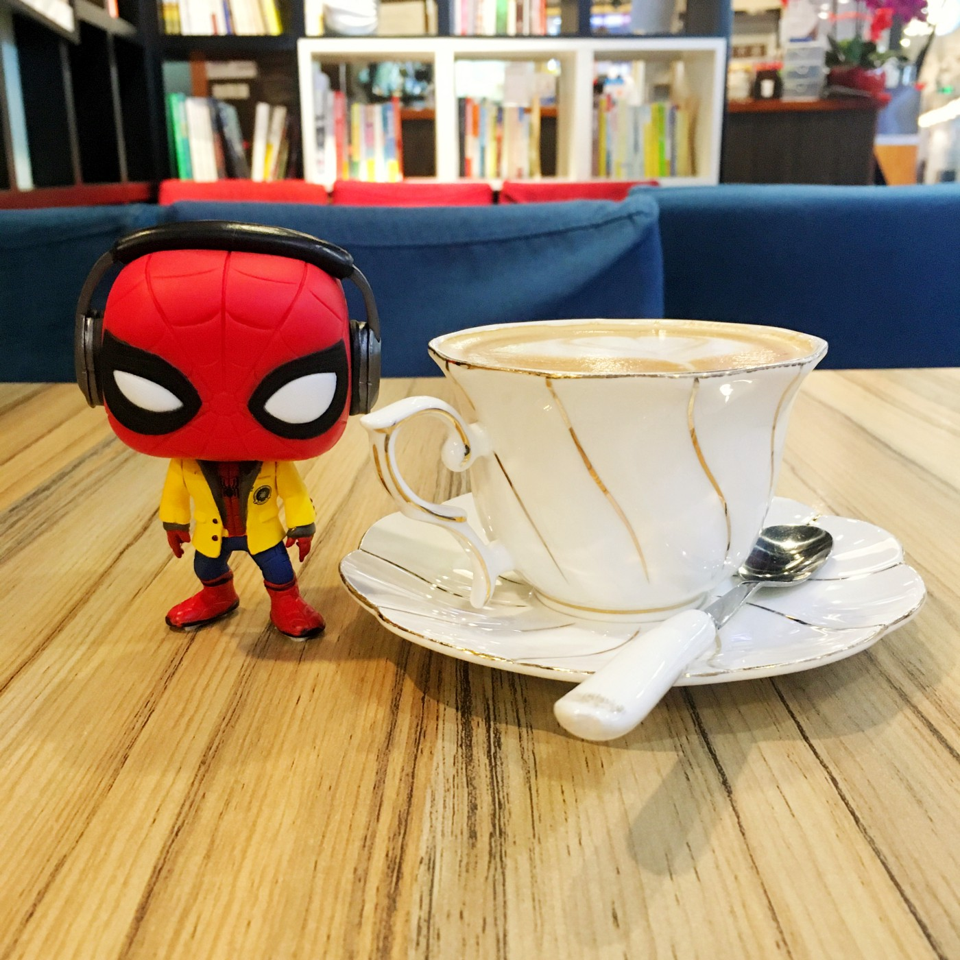 Spidey with cappuccino