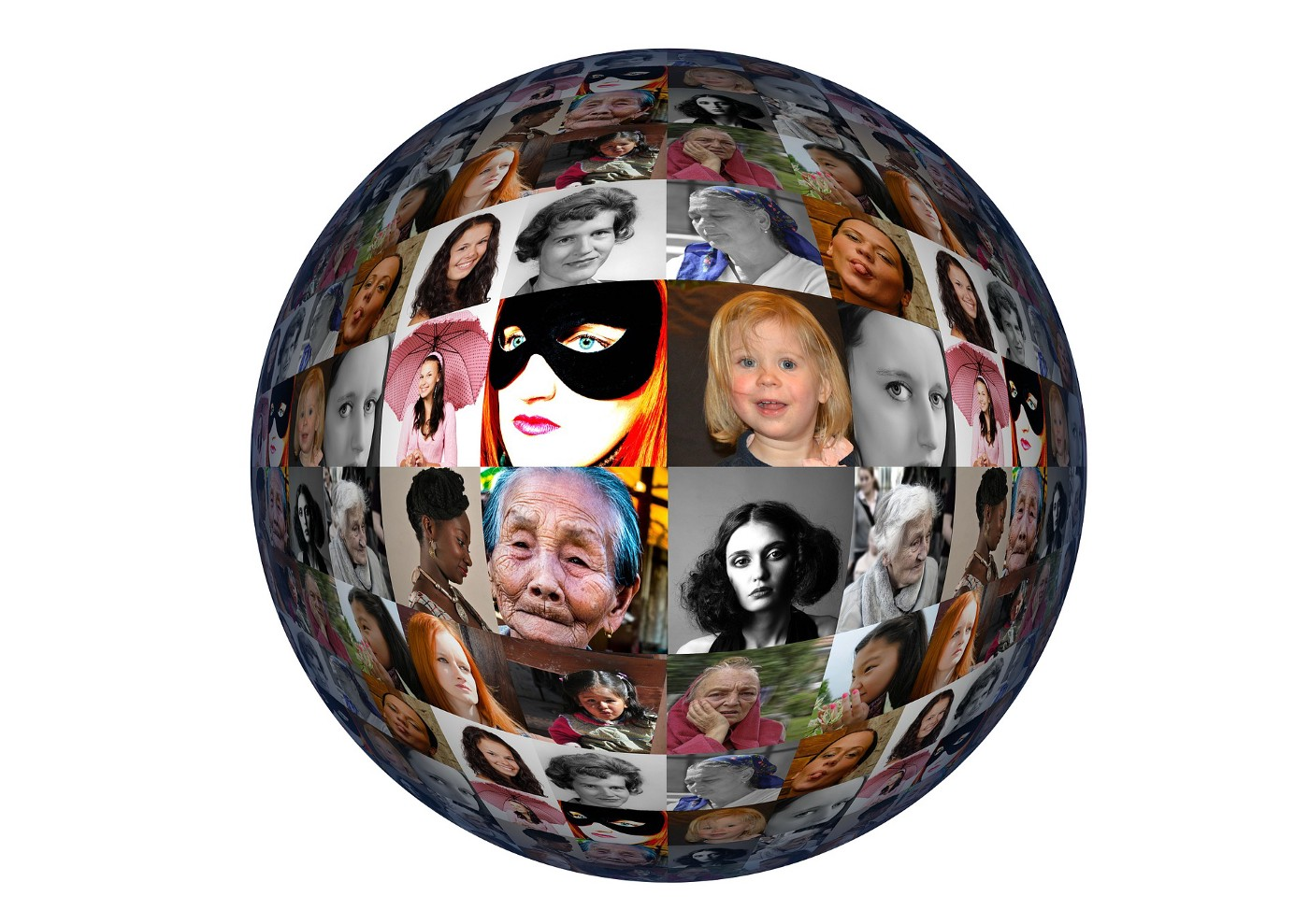 A sphere shape with pictures of women.