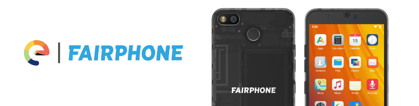 /e/ and Fairphone partnership banner with the Fairphone 3