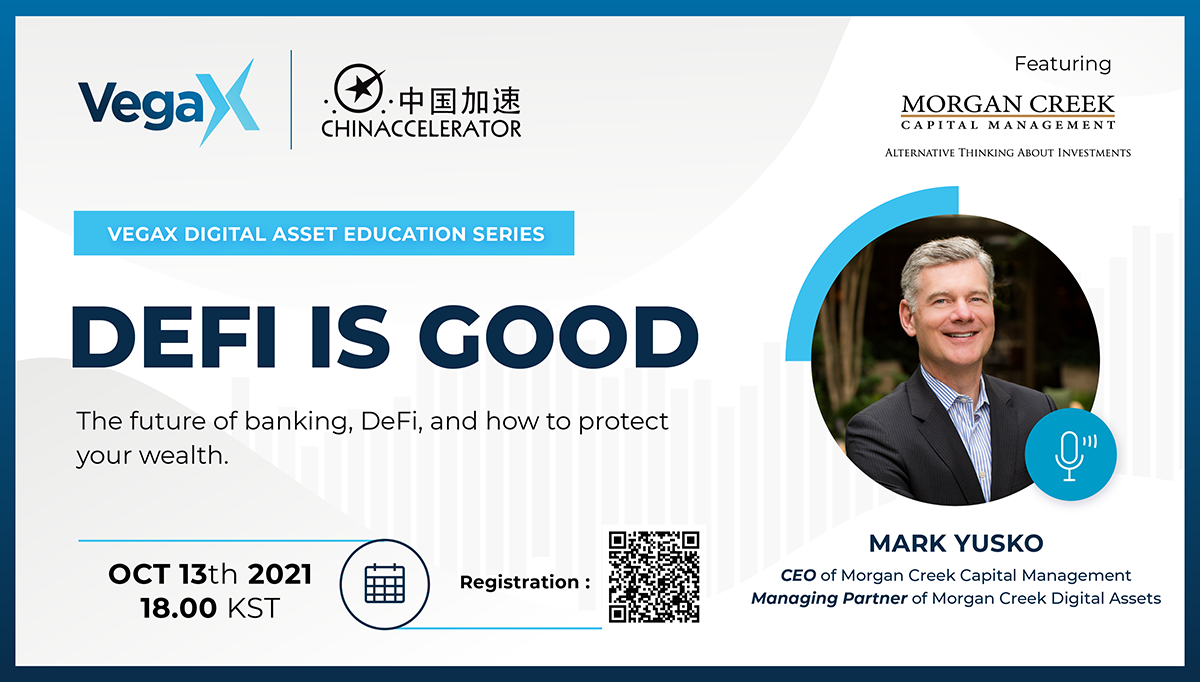 Photo of Mark Yusko and the title of the webinar