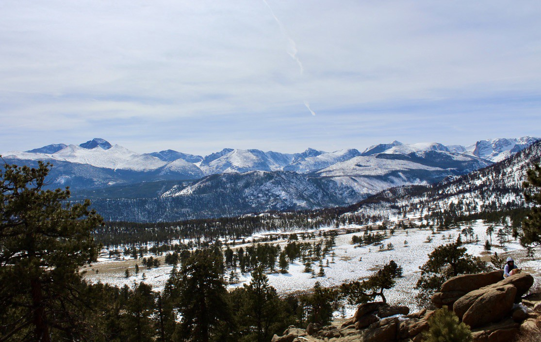 View of mountains and trees with a snow-covered foreground.