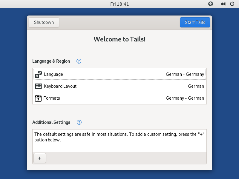tails linux welcome screenshot