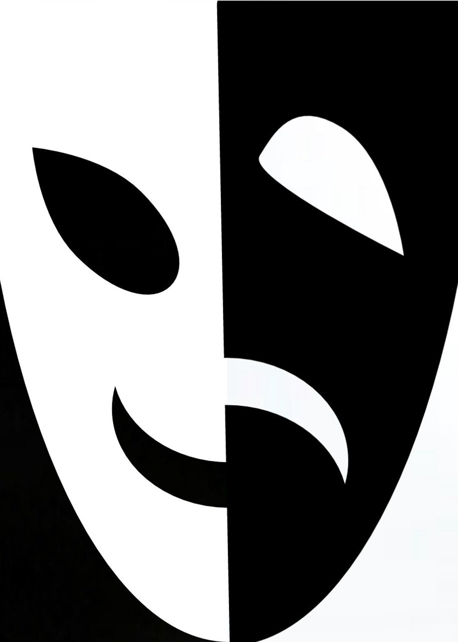 Black and white mask image showing a smile and frown.