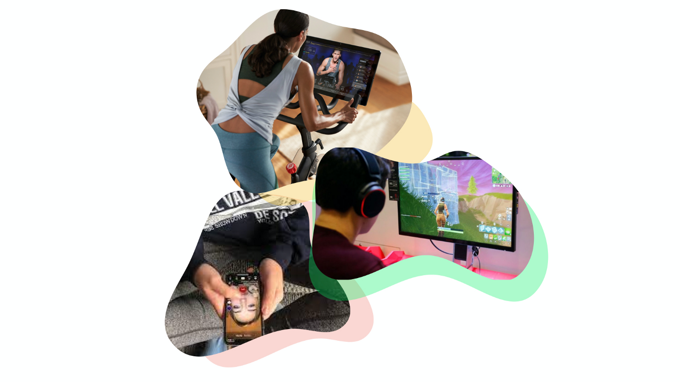 Users interacting with three different product interfaces: Peloton, Fortnite, and Tik Tok