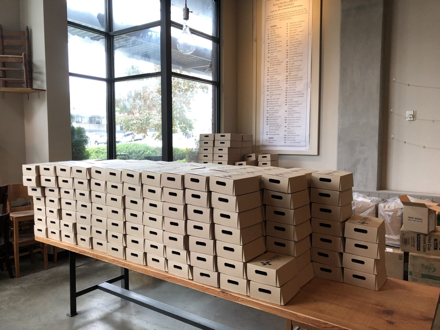 Boxes of bagels waiting to go out for delivery