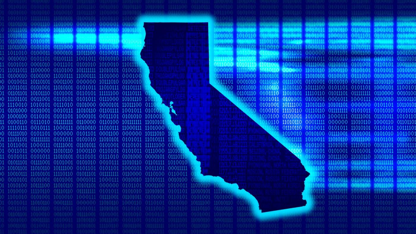 State of California with Matrix-style binary code on blue background.