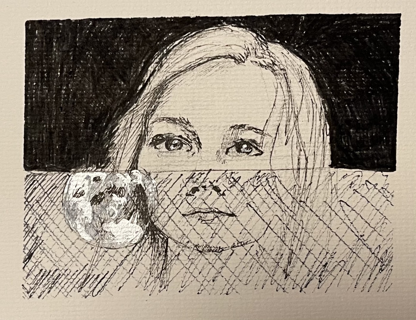 A child of an alcoholic watches the moon through a car window, ink drawing by the author.