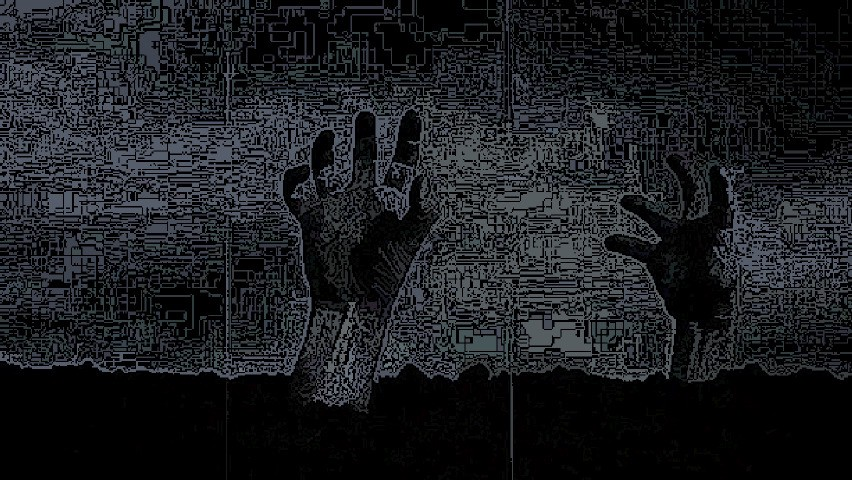 Digitized image of zombies hands raising from dirt.