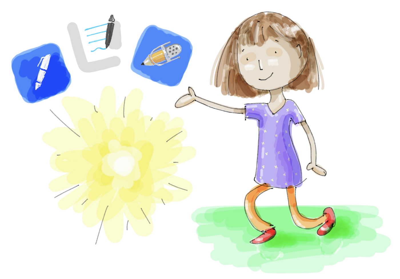 Cartoon girl with icons of Noteshelf, Goodnotes and Notability