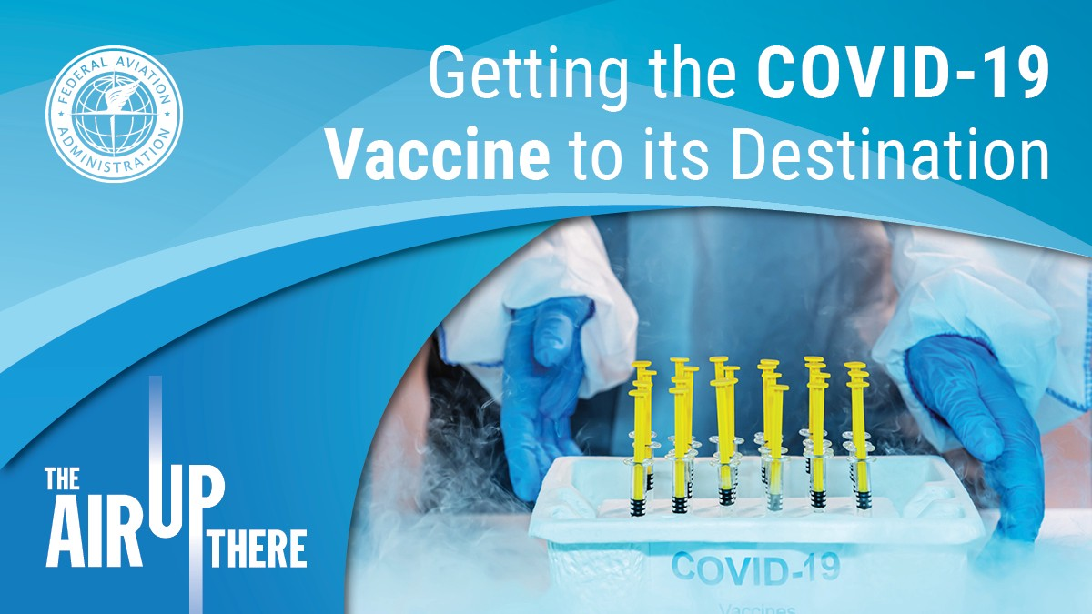 Image of vaccine doses labeled Covid-19. Getting the Covid-19 Vaccine to its Destination.