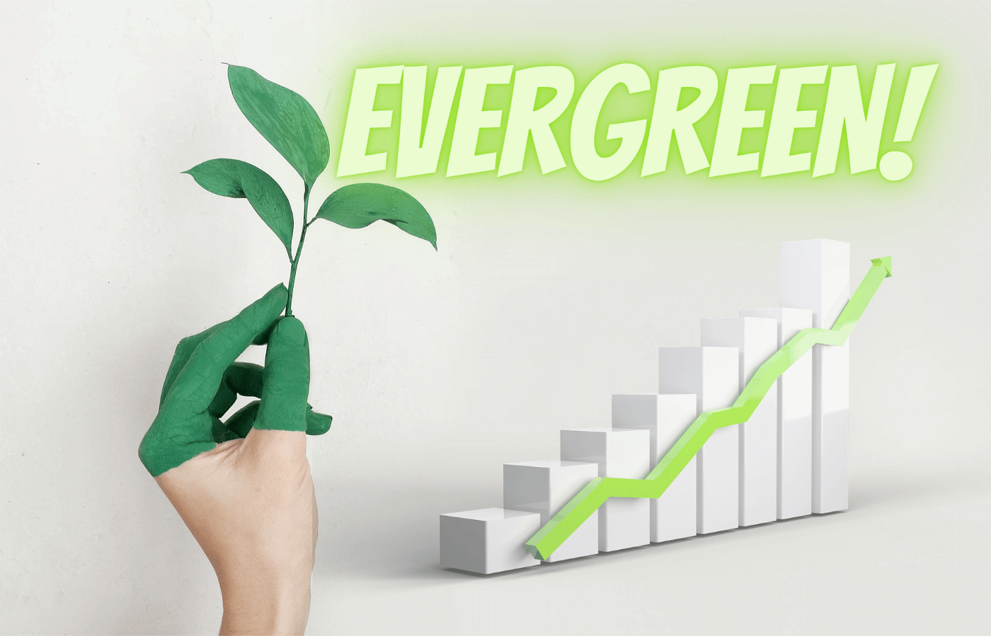 On the left a Hand with green painted fingers holding a evergreen leaf; on the right a graphic showing exponential growth.