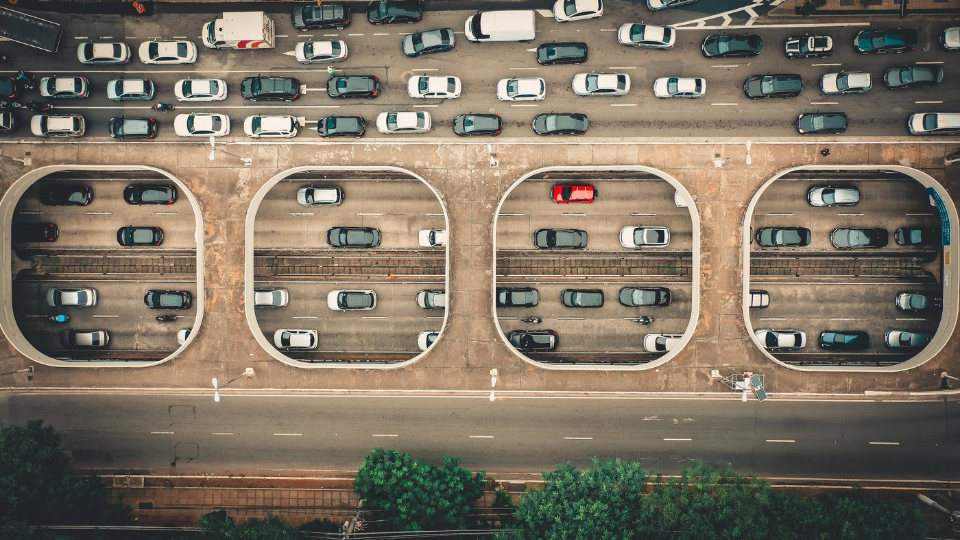 Overhead shot of cars in traffic