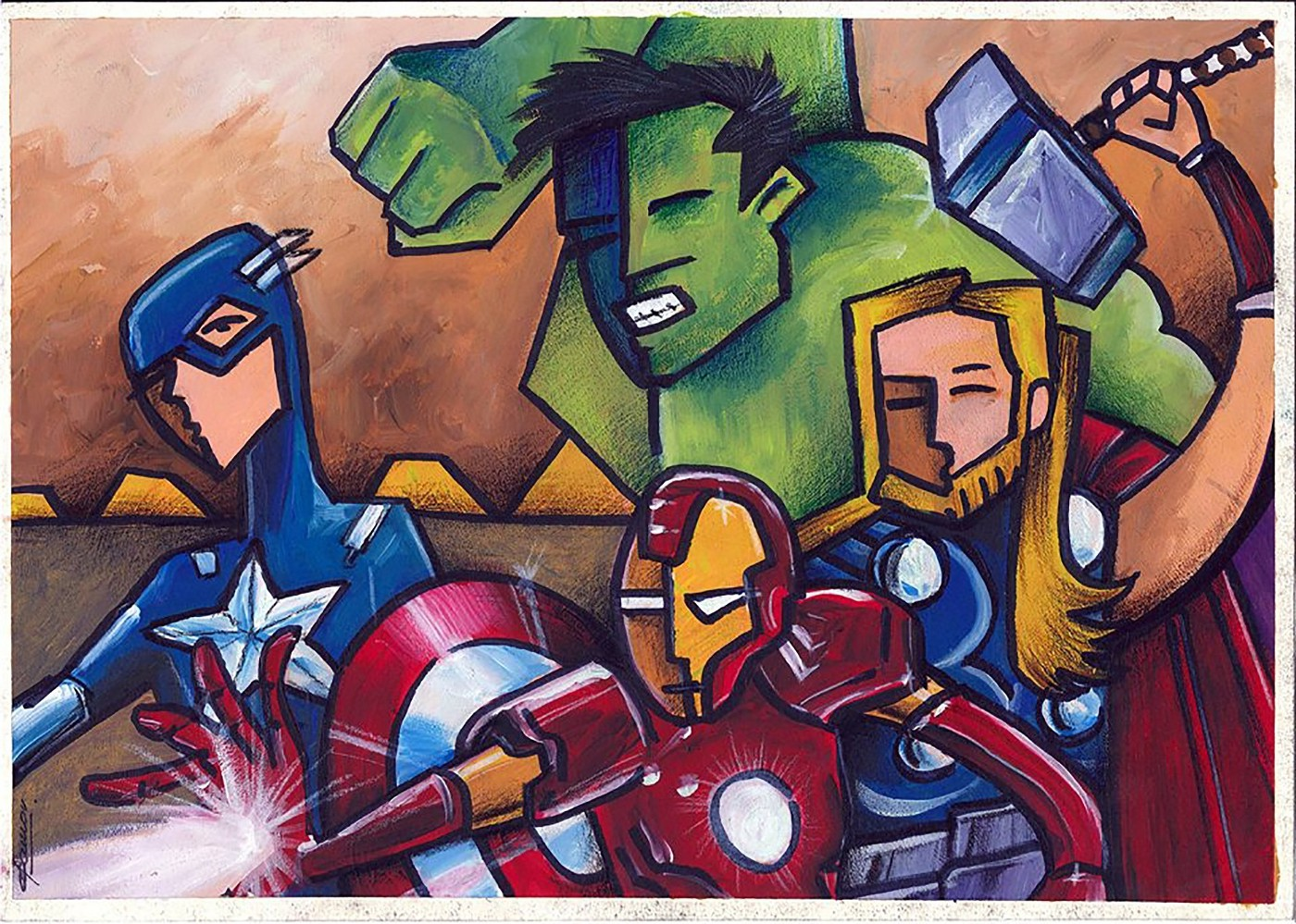 A drawing of the Avengers