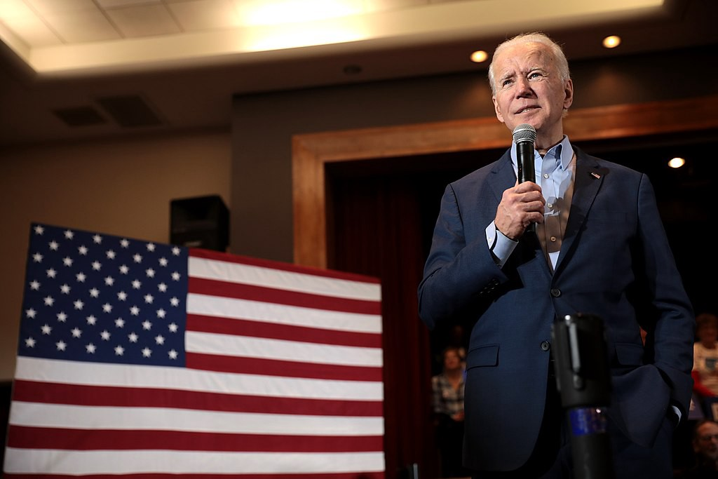 Former Vice President of the United States Joe Biden speaking with supporters at a community event in Henderson, Nevada.