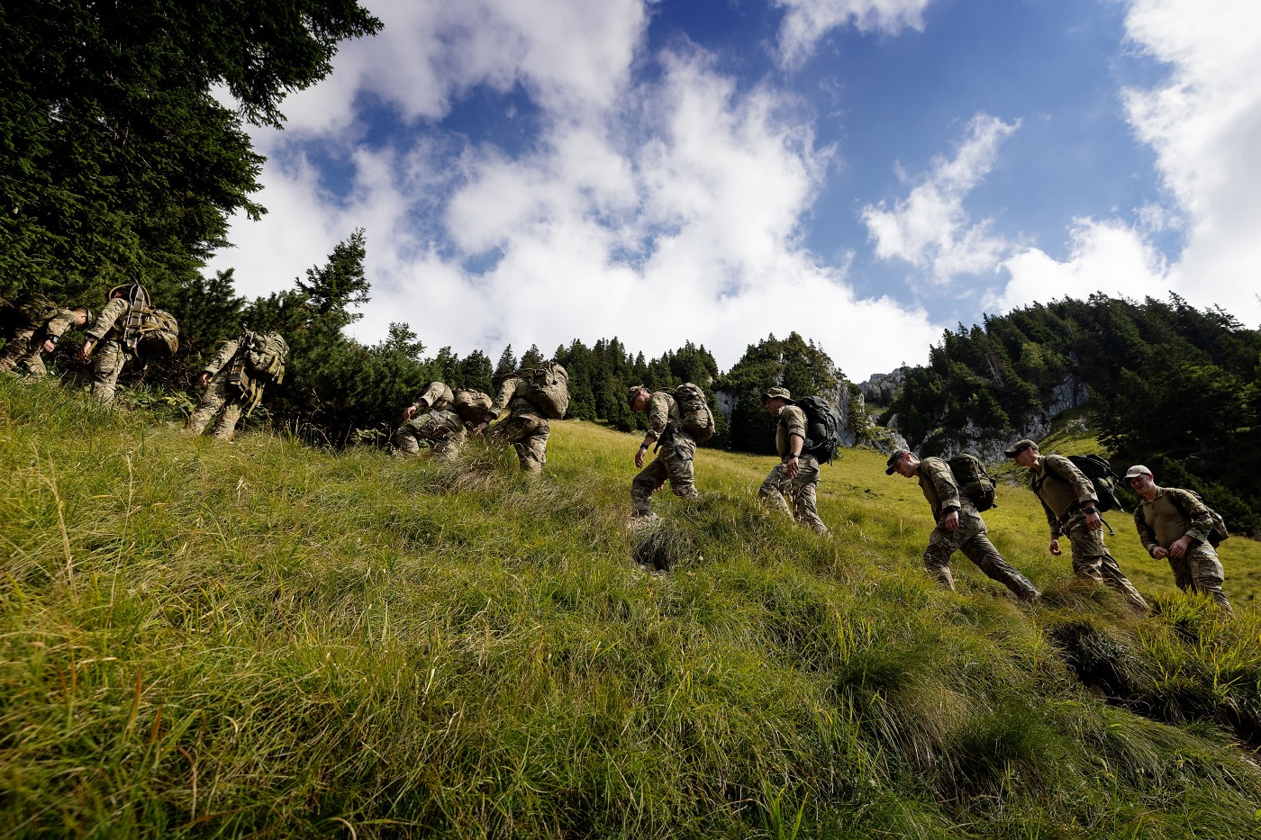 Royal Marines from Yankee Company on a mountain march in the Slovenian mountains.