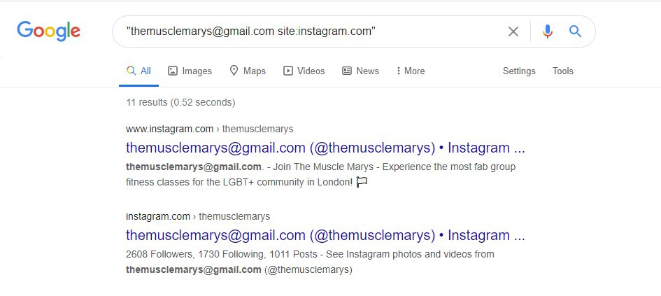 How to search an Instagram user from an email address.