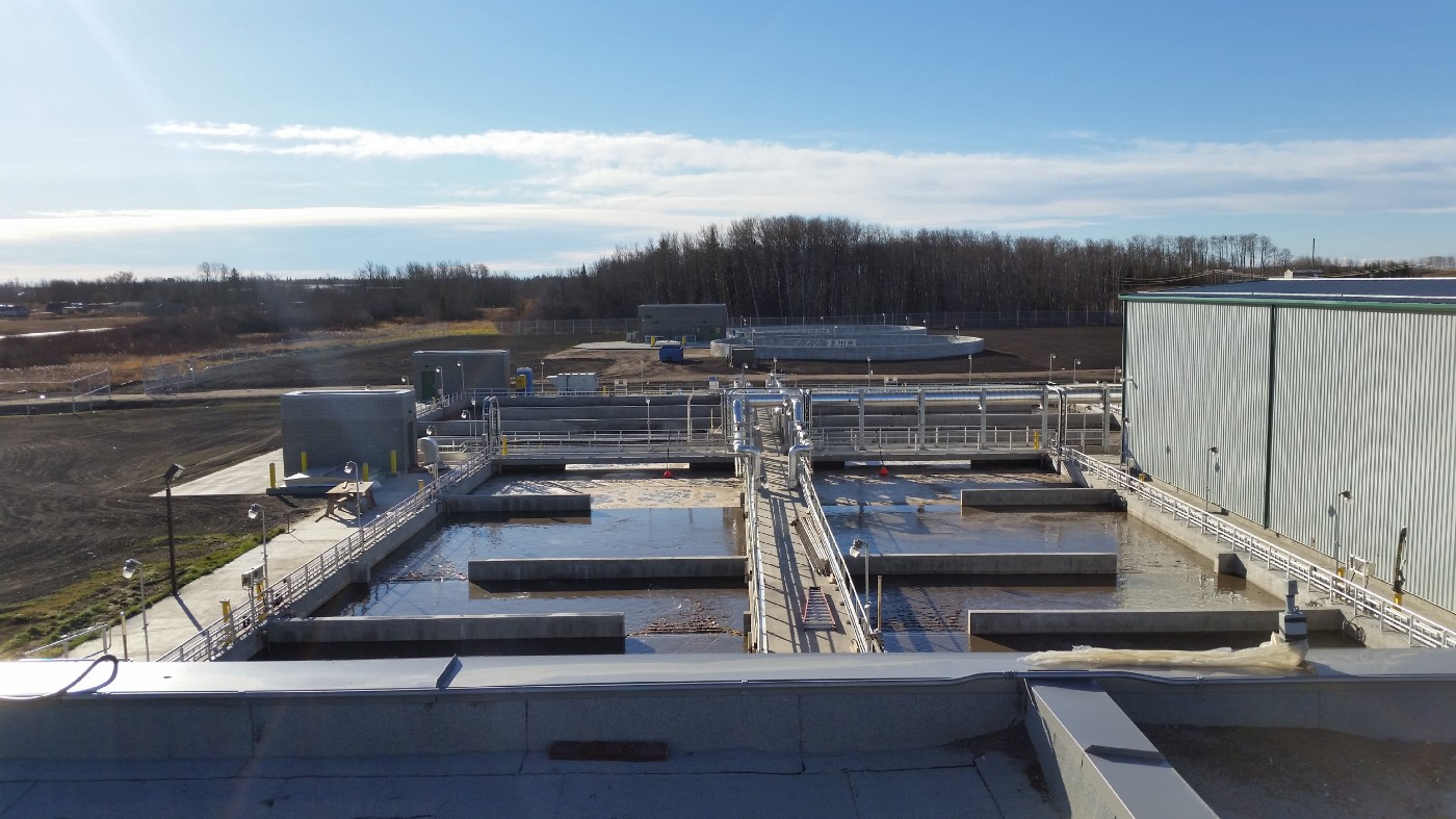 Water can be seen being treated in Aquatera's wastewater treatment plant.