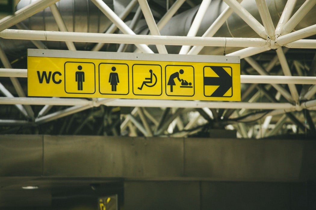 Sign for different accomocations at an airport
