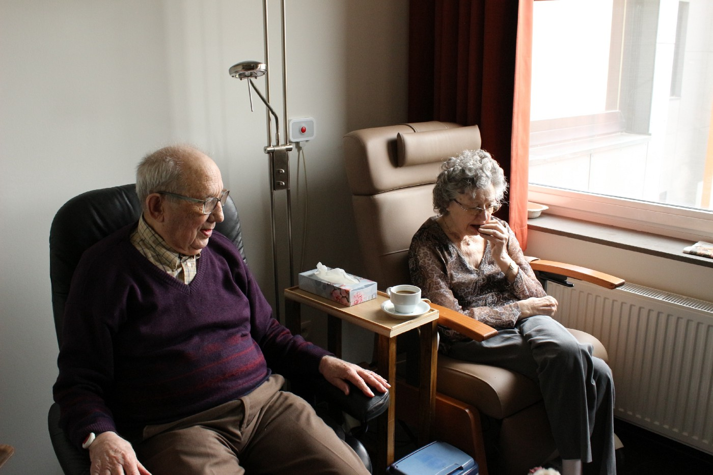 Elderly couple in their room