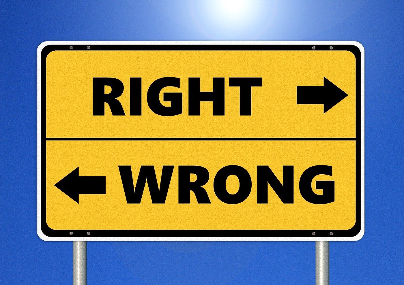 "Picture of a sign with text ""Right"" and ""Wrong"" in opposing directions with arrows."