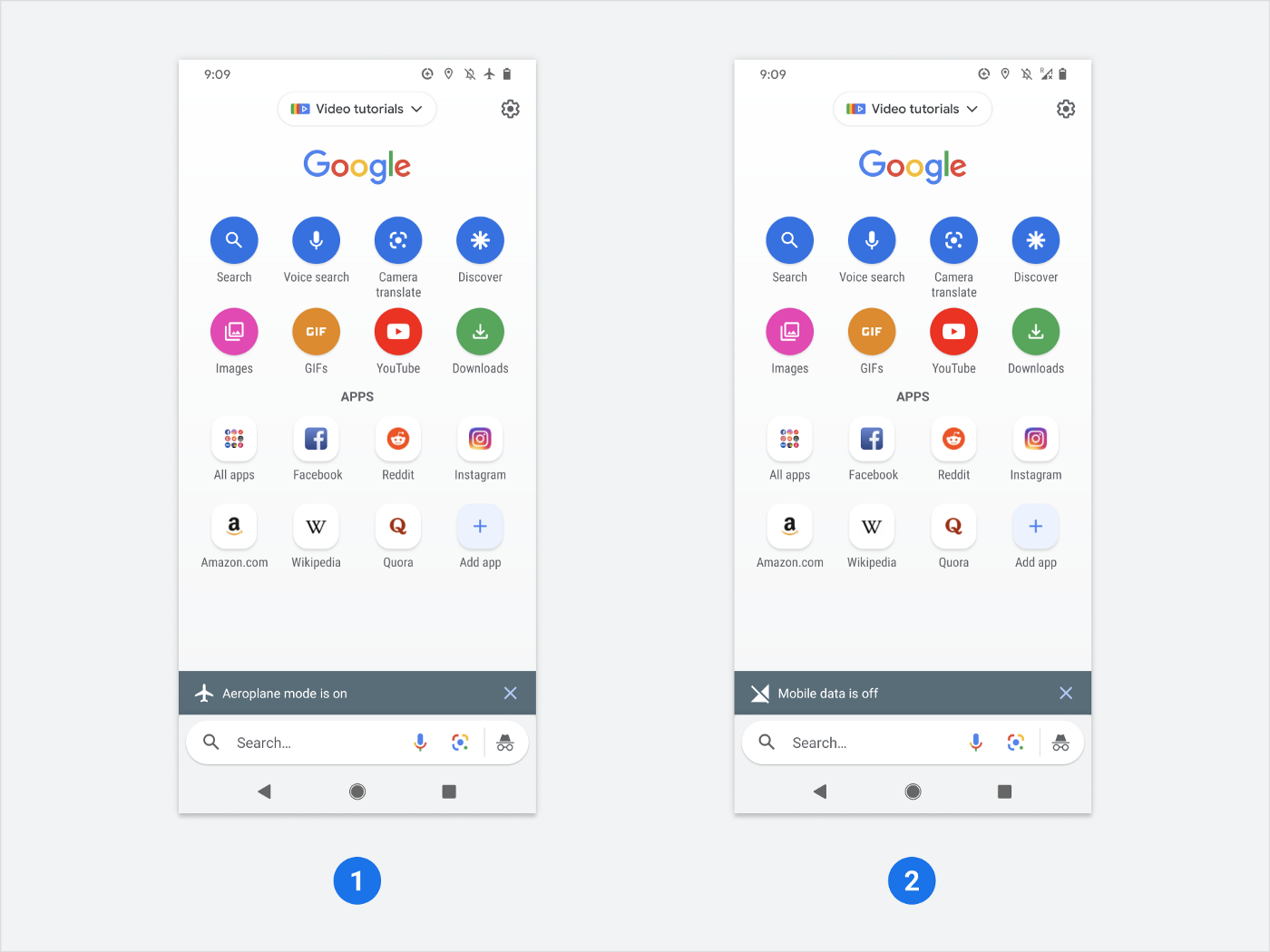 Google Go search app with 16 app and website icons