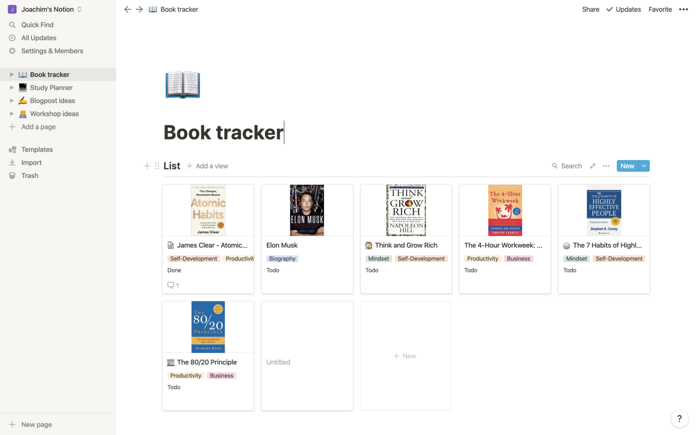 A book tracker template created in Notion.