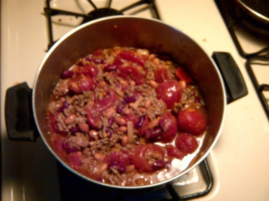 Big pot of Dad's Day Old Chili