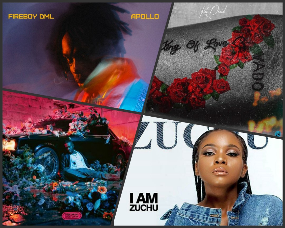 Collage of album covers. From top-left to bottom-right: Apollo, King of Love, Fleur Froide, and I am Zuchu