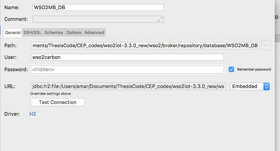 Accessing the H2 Database for WSO2 Products using web browser or