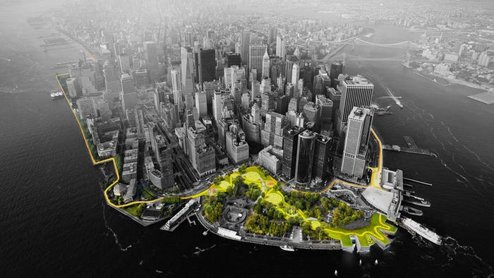 Image of battery park as part of NYC's resiliency project