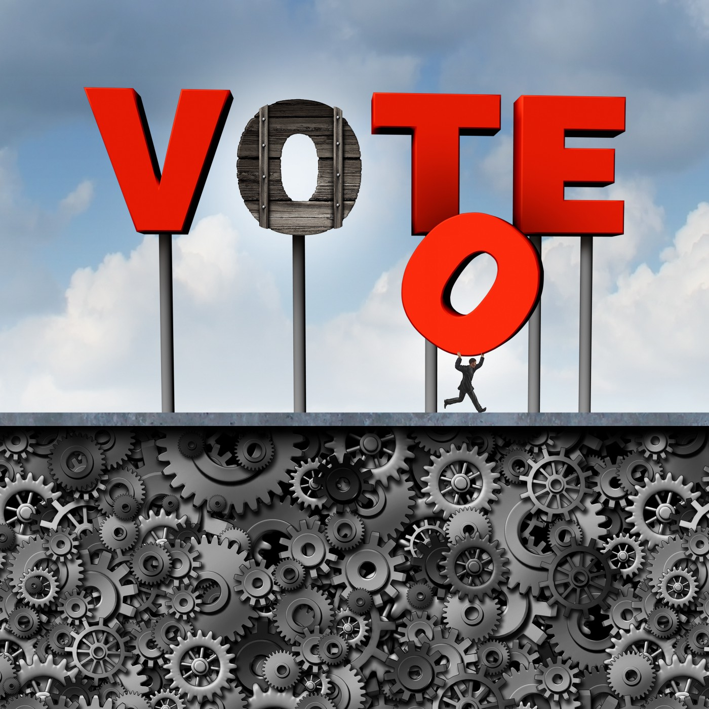 """A small dark figure steals the """"O"""" from a large red sign that says VOTE."""