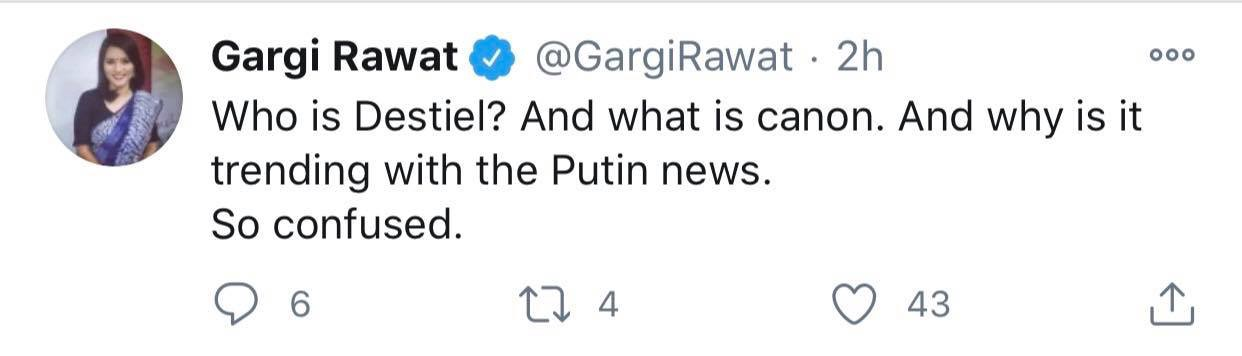 """Tweet by Gargi Rawat: """"Whois Destiel? And what is canon. And why is it trending with the Putin news. So confused."""""""