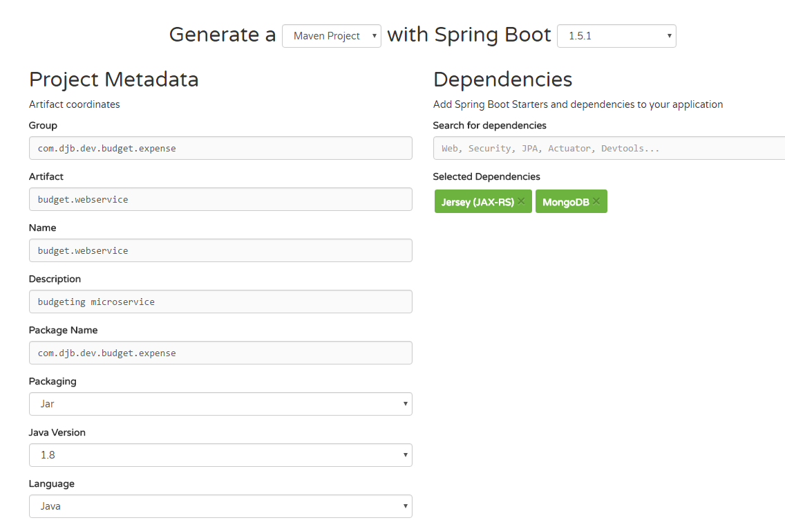 Writing a microservice with Spring boot, JAX-RS, and Mongo DB