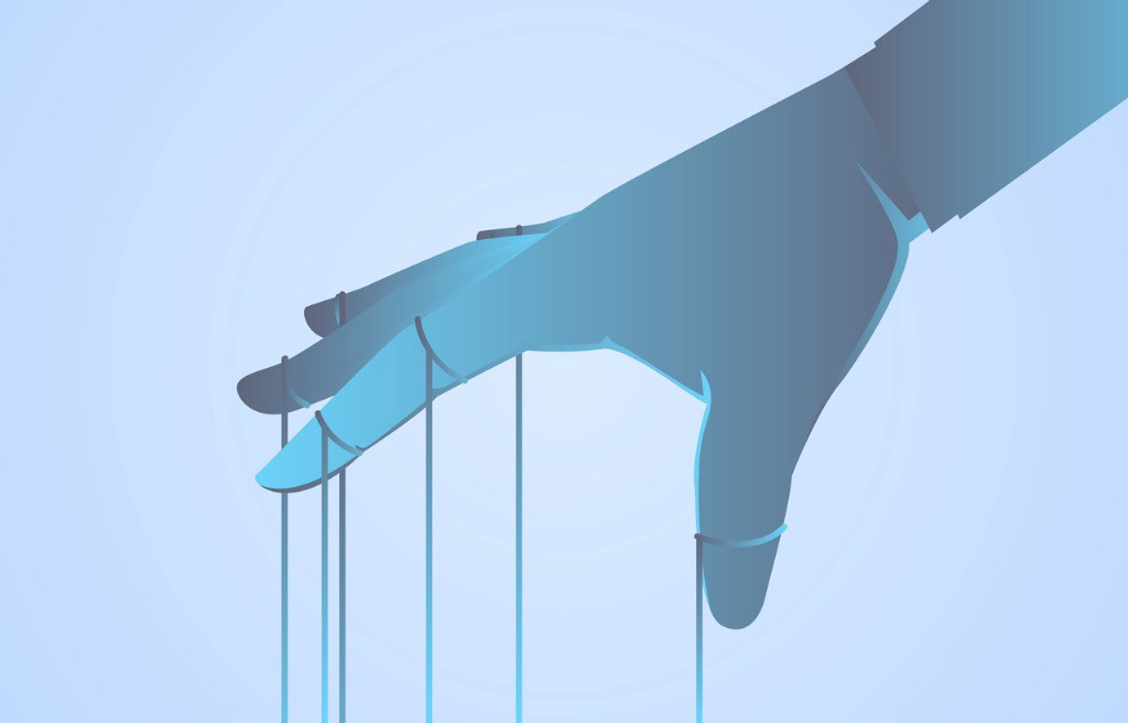 Illustration of a hand with strings tied to the joints, implying that a marionette is out of frame.