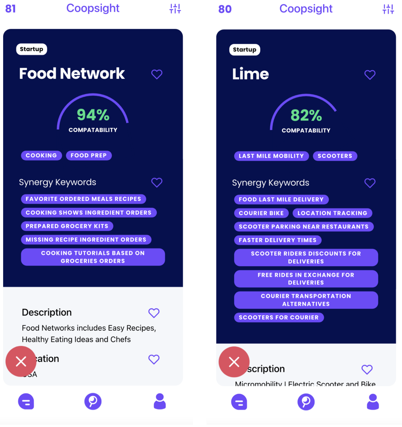 DoorDash's Match insights between Food Network and Lime bikes