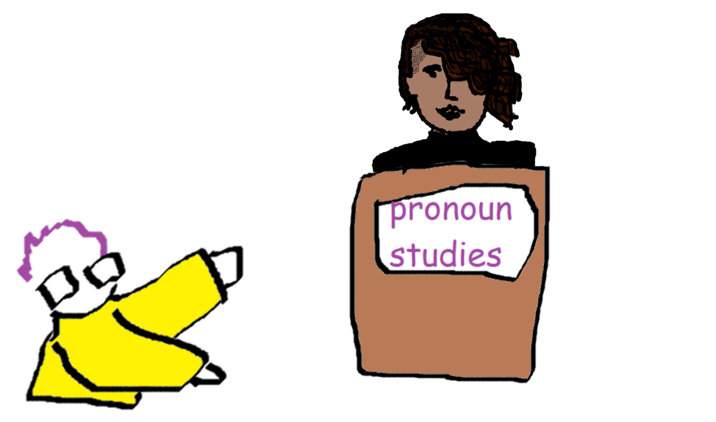 """A simple computer drawing: Kirby (purple hair, yellow jacket, glasses) is gesturing at Vasundhara (dark hair, black lipstick) who is standing at a podium labeled """"pronoun studies"""""""