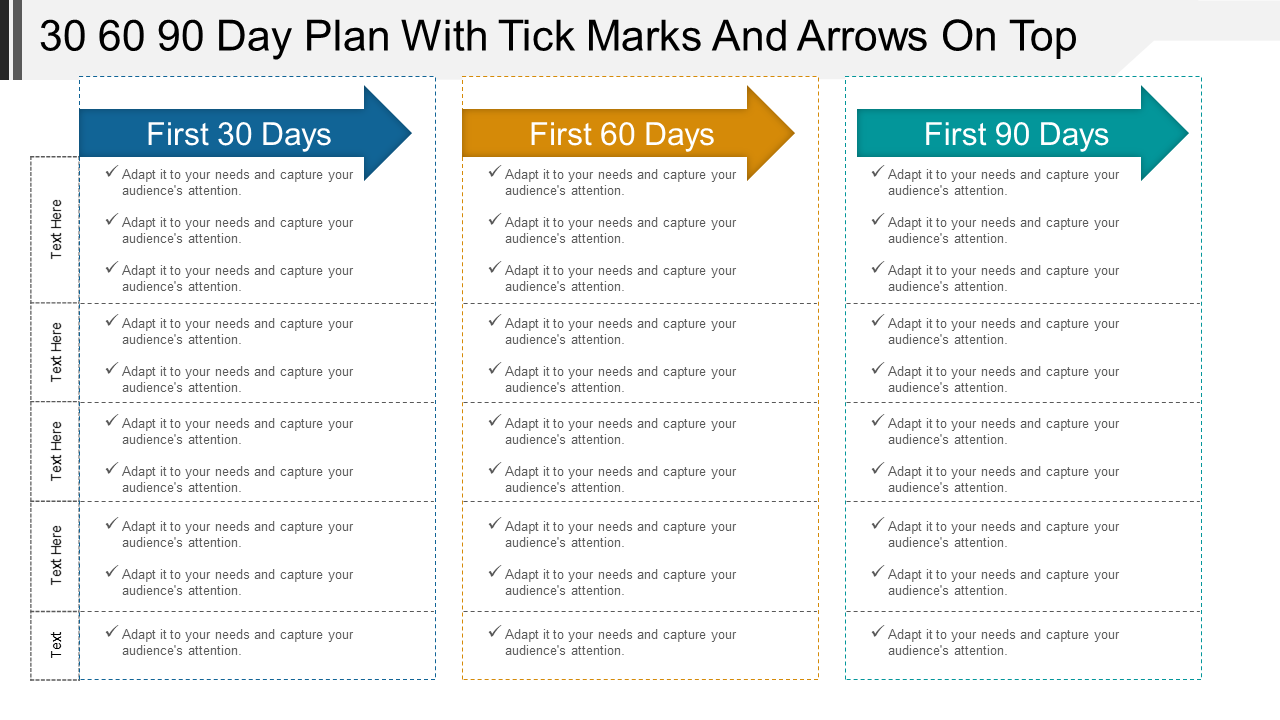 30 60 90 Day Plan with Tick Marks PPT Template