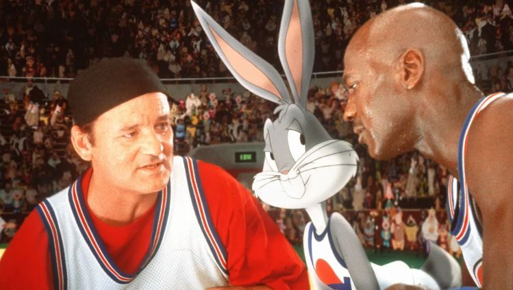 Star-studded cast for Space Jam 1996. Bill Murray (Left), Bugs Bunny (Middle), Michael Jordan (Right).
