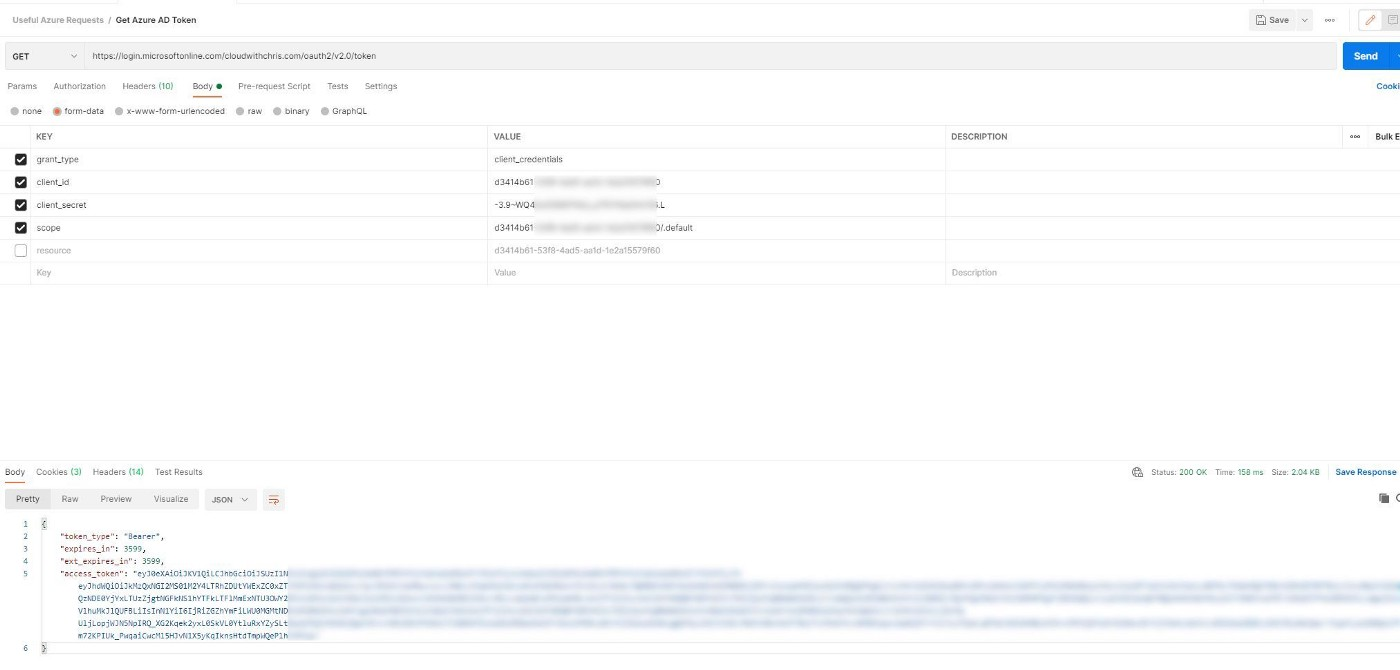 Screenshot showing Postman sending a request to Azure Active Directory for an authentication token