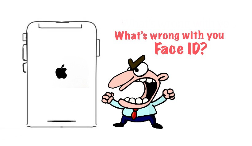Cartoon angry man with wide open mouth shouting on iPhone X
