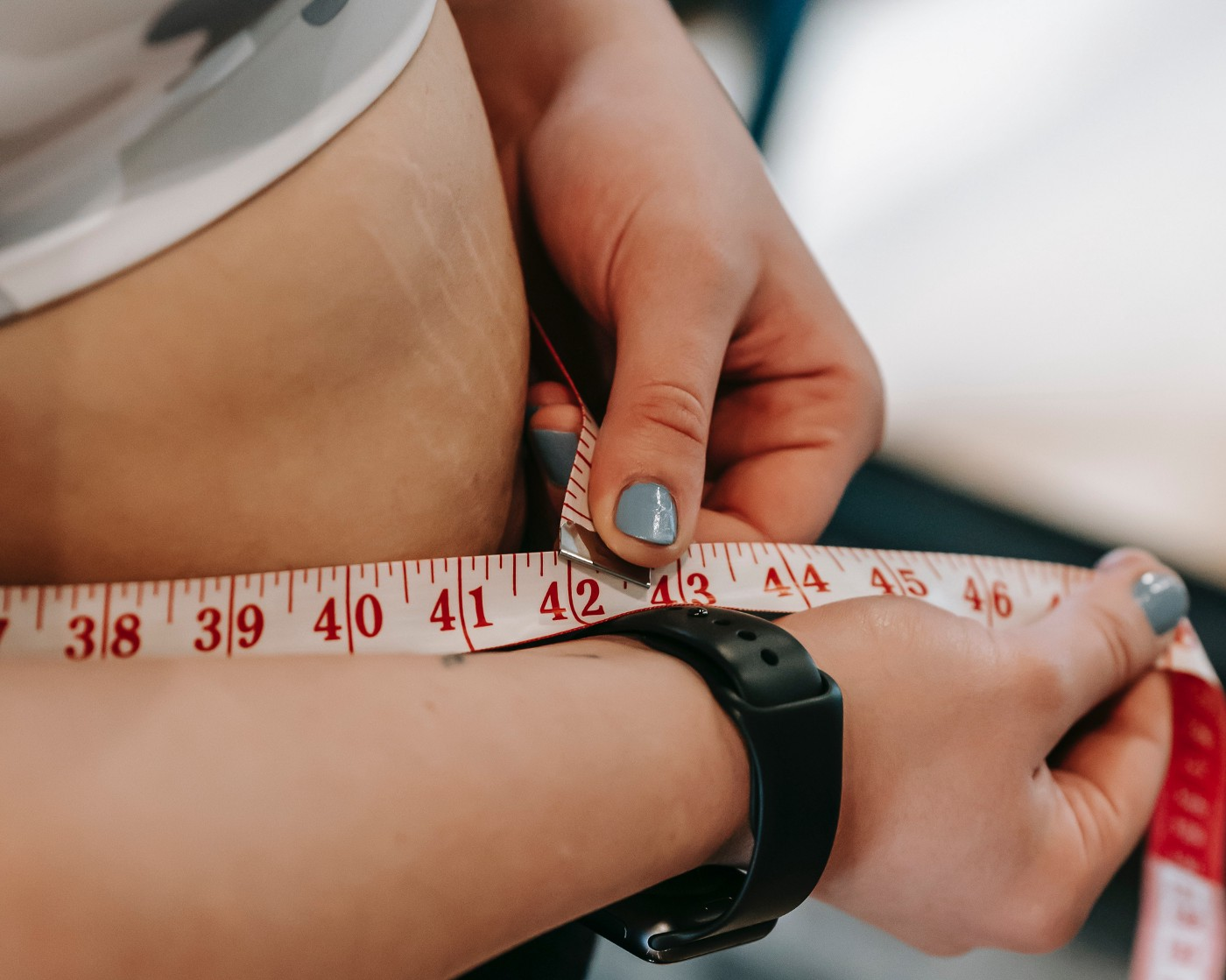Measuring belly fat.