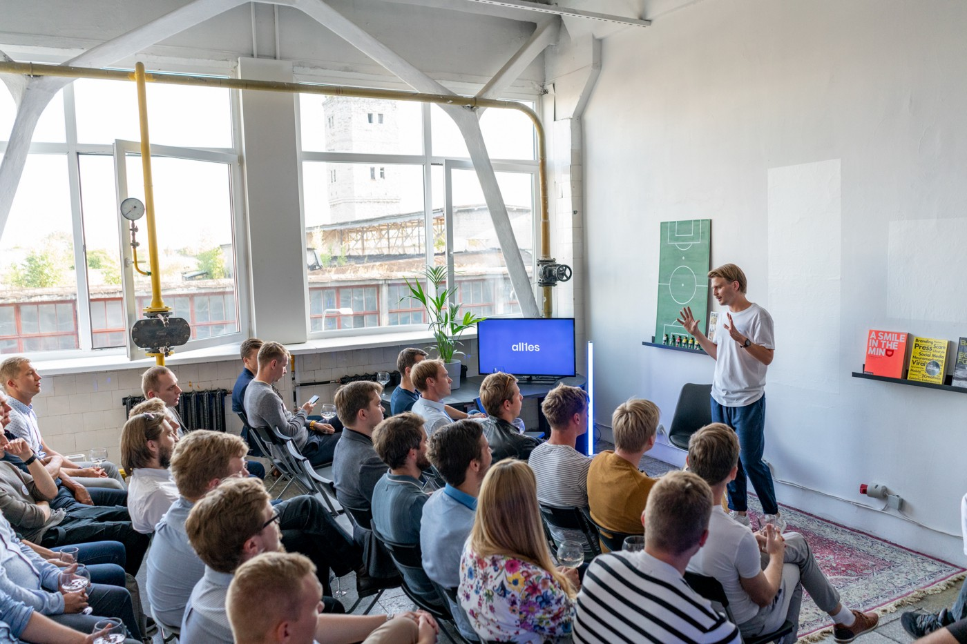 Allies Ecosystem Meetup—Priit Pavelson, CEO of allies.digital (standing)—key note at Allies developer ecosystem meetup